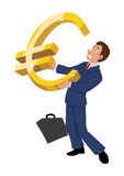 Euro Symbol. Cartoon illustration of a businessman holding a huge Euro symbol Royalty Free Stock Images