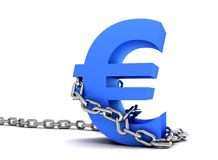 Euro symbol in chains Royalty Free Stock Photo