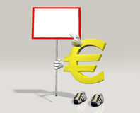 Euro symbol character with sign in hand Royalty Free Stock Images
