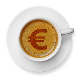 Euro symbol on coffee Royalty Free Stock Photography