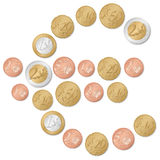 Euro symbol of coins. Euro symbol formed by euro coins on a white background Royalty Free Stock Images