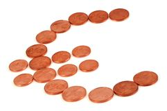 Euro symbol with coins stock image