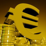 Euro Symbol On Coins Showing European Wealth Stock Images