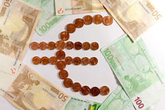 Euro symbol. Composed by euro coins stock image