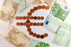 Euro symbol. Composed by euro coins stock photos