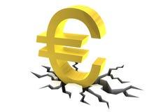 Euro Symbol on Cracked Ground Stock Image