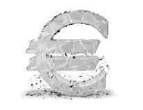 Euro symbol damaged. Illustration isilated. Royalty Free Stock Photos