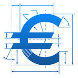 Euro symbol with dimension lines Stock Photography