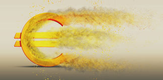 Euro Symbol Disintegrate. 3D illustration of a Euro symbol disintegrating into dust Stock Photography