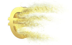 Euro Symbol Disintegrate. 3D illustration of a Euro symbol disintegrating into dust Stock Images