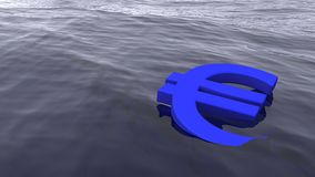 Euro symbol drowning in the ocean economy crisis stock illustration