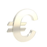 Euro symbol emblem icon made of silver glossy steel Stock Photos