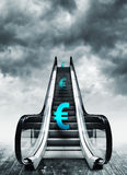 Euro symbol on escalators Stock Image
