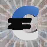 Euro symbol with Estonian flag on Euro currency illustration. Euro symbol with Estonian flag on Euro currency 3d illustration Stock Photos