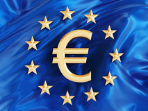 Euro symbol on European Union flag Royalty Free Stock Photo