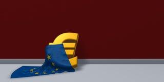 Euro symbol and european union flag Stock Image