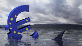 Euro symbol sinking in the water Royalty Free Stock Photos