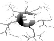 Euro symbol fall down a precipice. 3d sign of euro symbol fall down a precipice Royalty Free Stock Image