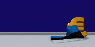 Euro symbol and flag of estonia. 3d illustration Stock Images