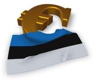 Euro symbol and flag of estonia Stock Photo