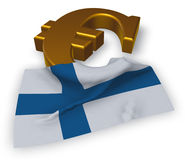Euro symbol and flag of finland. 3d illustration Royalty Free Stock Images