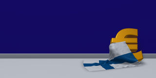 Euro symbol and flag of finland. 3d illustration Royalty Free Stock Photo