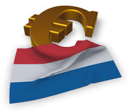 Euro symbol and flag and flag of the netherlands. 3d illustration Royalty Free Stock Photography