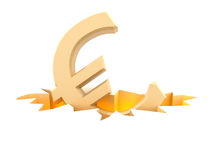 Euro symbol in fracture. Euro symbol falls to fracture on the ground Stock Image