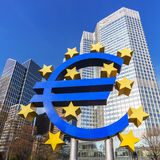 Euro symbol in Frankfurt Stock Images
