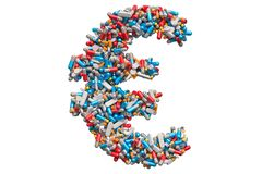 Free Euro Symbol From Medicine Pills, Capsules, Tablets. 3D Rendering Stock Images - 138390034
