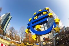 Euro symbol in front of the European Central Bank with occupy ca Stock Photo