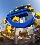 Euro symbol in front of the European Central Bank with occupy ca Stock Images