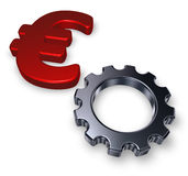 Euro symbol and gear wheel Royalty Free Stock Image