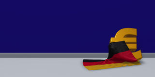 Euro symbol and german flag. 3d illustration Stock Photos