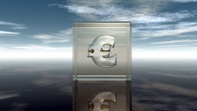 Euro symbol in glass cube Royalty Free Stock Photos