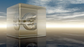 Euro symbol in glass cube. Under cloudy blue sky - 3d illustration Stock Photo