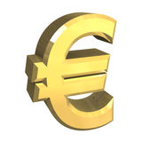 Euro symbol in gold (3D) Royalty Free Stock Photos