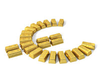 Euro symbol from gold bars, perspective. Bars of gold arranged in the shape of an Euro symbol Stock Photos
