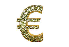 Euro Symbol in gold coating 3d rendering isolated on a white  Royalty Free Stock Photos
