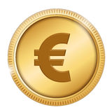 Euro. Symbol in a gold coin isolated on white Royalty Free Stock Photo