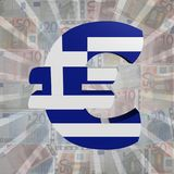 Euro symbol with Greek flag on Euro currency illustration. Euro symbol with Greek flag on Euro currency 3d illustration Stock Images