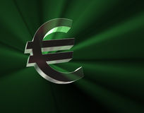 Euro symbol in green lights. 3D image vector illustration