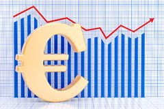 Euro symbol with growing chart. 3D rendering. Euro symbol with growing chart. 3D Royalty Free Stock Images