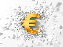 Euro symbol hitting to wall and flying pieces around. Royalty Free Stock Photography