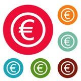Euro symbol icons circle set vector. Isolated on white background Stock Images