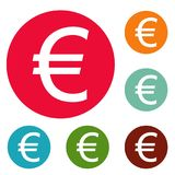 Euro symbol icons circle set vector. Isolated on white background Royalty Free Stock Photo
