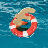 Euro Symbol Inside of Lifebuoy in the Ocean 3d Illustration Royalty Free Stock Image