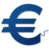 Euro symbol of knitted fabric isolated on white background. Fragment of knitting in shape of money sign. Qualitative vector (EPS-10) illustration for banking Royalty Free Stock Image