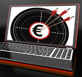 Euro Symbol On Laptop Shows Earnings Stock Image