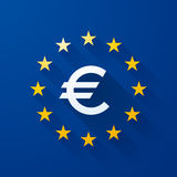 Euro symbol. With long shadows Stock Images